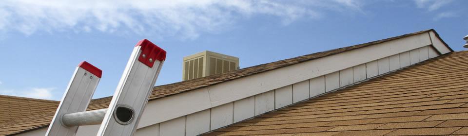 dak met ladder en blauwe lucht